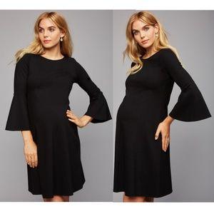 Isabella Oliver Bell Sleeve Maternity Dress Black